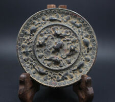 Chinese collection antiques exquisite beast brid grap emblazonry bronze mirror
