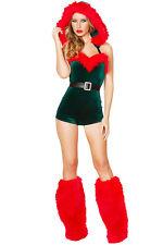 Onorevoli qualità SEXY 4 PEZZI NATALE Costume Elfo Vestito Cappuccio Cintura GILET IMBOTTITI lc7266