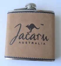 Jacaru Stainless Steel Flask trimmed in Kangaroo Leather Great Gift Idea Boxed