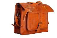 Leather Messenger Bag Men's Genuine Vintage Brown  Shoulder Laptop School Bag