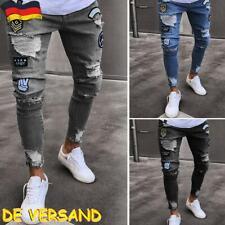 Herren Strech Destroyed Slim Fit SKINNY Denim Jeans Chino Hose Schwarz/Grau/Blau