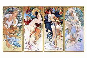 "Alphonse Mucha `Four Seasons' CANVAS PRINT Art Poster 24"" x 36"""