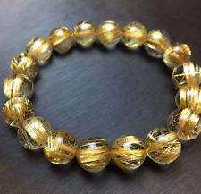 Jewelry Natural Gold Rutilated Quartz Translucent Beads Men Bracelet 6A 10 mm
