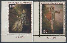 1971 DAHOMEY PA N°141/142** Avec coin daté, Tableaux, Watteau, Painting MNH