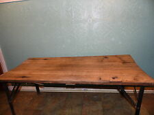 Reclaimed Wood Metal Table Bench Black  Cocktail Table   Primitive Rustic