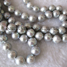 "Pearl Necklace Fashion Jewelry 49"" 9-11mm Silver Gray Freshwater"