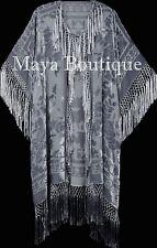 Silver Gray Fringe Jacket Kimono Duster Silk Burnout Velvet Maya Matazaro Plus