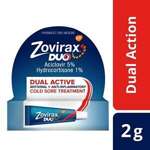 Zovirax Duo Cold Sore Treatment Cream Tube 2g - Unique New Dual-Active Formula