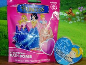 Disney Lot of Magic Towel Cinderella & Princess Bath Bomb Fizzies Strawberry