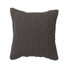 KAI CHARCOAL Chunky Knitted Square Filled Cushion by LOGAN AND MASON