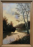 Heinrich Petersen 1881-1955 Abendsonne am Flussufer Schleswig Holstein Ölgemälde