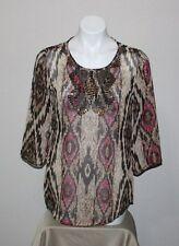 CHICO'S Womens Beaded Sheer Top Tunic Size 0 4