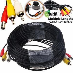 CCTV Security DVR Camera Phono RCA AV Audio Video DC Power Cable Lead 5m - 50M
