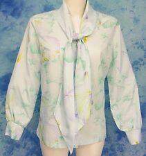 Mod 70s ViNtage ReTrO Blue Floral TiE Neck Draped Ascot Puff Sleeve Top Blouse L