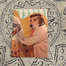 Vintage Greeting Card Birthday Cute Dog Painting