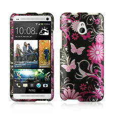 For AT&T HTC ONE MINI HARD Protector Case Snap On Phone Cover Black Butterfly