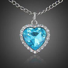 Corazón Collar Estrás Cadena strass azul turquesa Titanic Amor Elegante Elegante