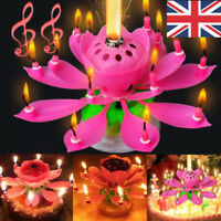 Magic Birthday Candle Lotus Flower Blossom Musical Romantic Party Cake Topper UK