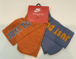Nike 2-Pack SNKR Just Do It Crew Socks Size: Men 8-12, Women 10-13 Orange/Grey