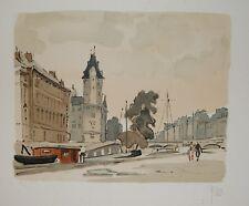 Les quais à Paris : lithographie originale signée YAN Robert