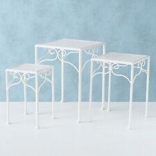 Beistelltisch weiß Metall Telefontisch Pflanzentisch Blumenständer eckiger Tisch
