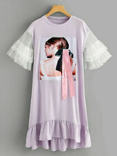 Purple Lilac Mesh Frilled Sleeve Ruffle Hem T-Shirt Dipped Hem Tunic Dress