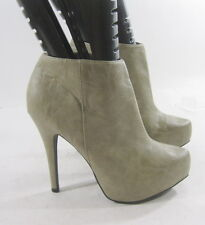 """Gray/Brown 5""""Stiletto High Heel 1""""Platform Pointy Toe Sexy Ankle Boots Size 7"""