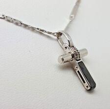 Onyx & Diamond Cross Pendant and Chain - 18k White Gold (6004T)