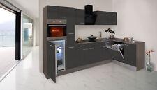 Küchenzeile Küche Winkelküche L-Form Küche Eiche York grau 310x172cm respekta