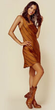 New Sexy Revolve BLUE LIFE Copper Black Mini Silky Satin Slip Dress XS $172