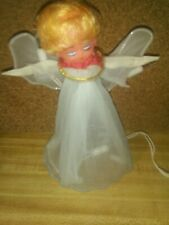 Vintage Western Auto Christmas Tree Topper Blinking Light Up Angel Works