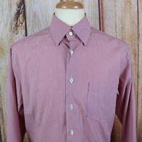 Canali Men's Button Shirt Sz Large Dress Casual Italy Micro Check Orange Purple