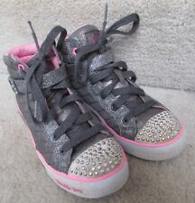 Skechers Twinkle Toes Hi Pewter Fabric Kids Sneaker 10573L Gun Color Size 2.5