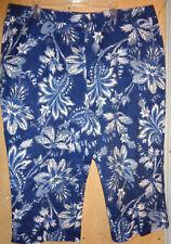 Ralph Lauren Blue White Funky Floral Print flat front 20W Cropped Pants Capris