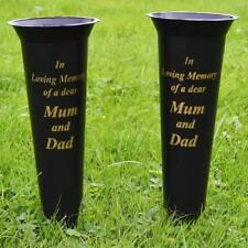 Set of 2 Mum in Loving Memory Spiked Memorial Grave Flower Vases Holder