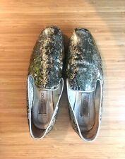 Jimmy Choo Wheel Glitter Coated Loafers Flats - Dazzling Gold Women's Shoes 37