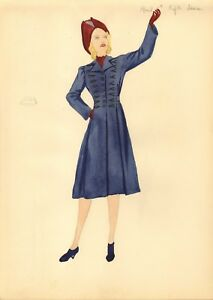 1940 fashion pencil / watercolour  drawing ( great classic image )