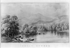 Indian summer,Man in Rowboat,Squam Lake,Mountains,Landscape,Nature,c1868