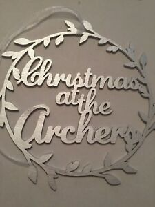 """LARGE Laser Cut PERSONALISED """"Christmas At The..."""" wreath style Sign"""