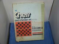 Whitman Chess and Checker Set with Box Complete 1974 Vintage Original Chess Set