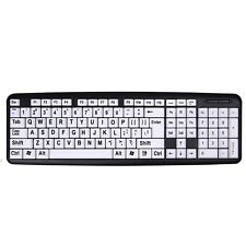 Large Print Computer Keyboard Wired USB High Contrast White with Black Letters