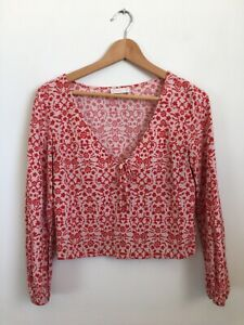 Kookai Red Floral Blouse Top Size 36 /8