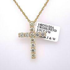 14k Yellow Gold 2.50 CT Diamond Cross Pendant, 5.2gm, S105697