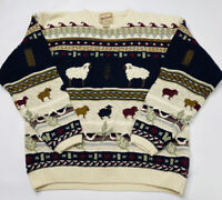 Vintage 90s Woolrich Womens Medium Fair Isle Little Lamb Sheep Crewneck Sweater