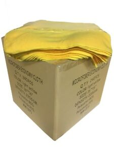 """240 Case 16""""x16"""" Economy Grade Microfiber Cleaning Cloths Towels 220GSM Yellow"""