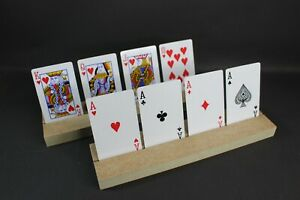2 x HOME CRAFTED WOOD PLAYING CARDS HOLDERS - FREE UK POST & PACKING