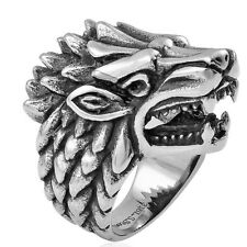 Wolf Head Ring Men's Gents  Oxidized Stainless Steel size 10