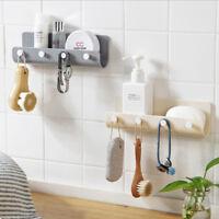 Wall Hook Rack Organizer Key Hanger Holder Storage Shelf Mount Modern 4 Hooks LD