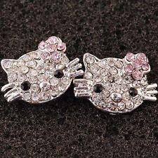 1 Pair Nickel Free Cute *hellokitty* Pink Crystal Earring Earbob  Jewelry Ry38
