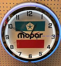 "19"" MOPAR 1972 Sign Double Neon Clock Dodge Plymouth Ram Chrysler"